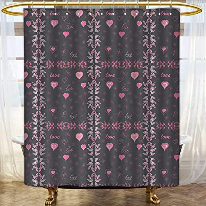 Anhounine Pink And Grey Shower Curtains Sets Bathroom Spring Butterflies Flower Leaves Stylish Inspiration Season Concept