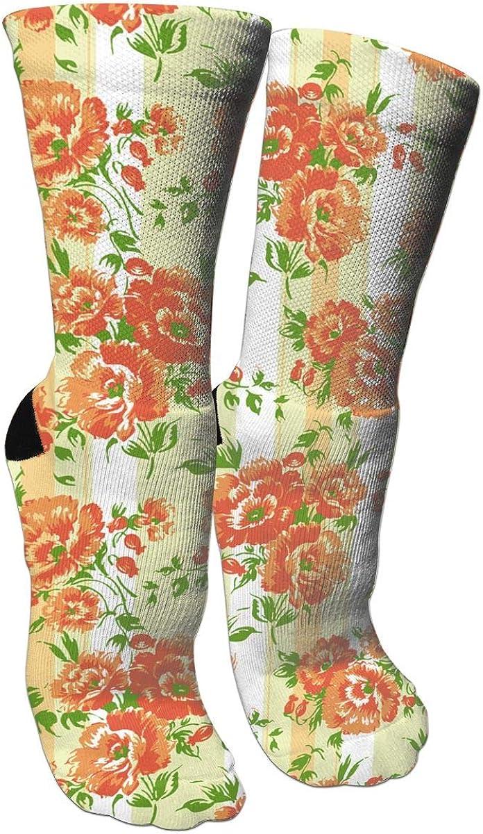 Orange Flower Pattern Casual Socks Crew Socks Crazy Socks Soft Breathable For Sports Athletic Running