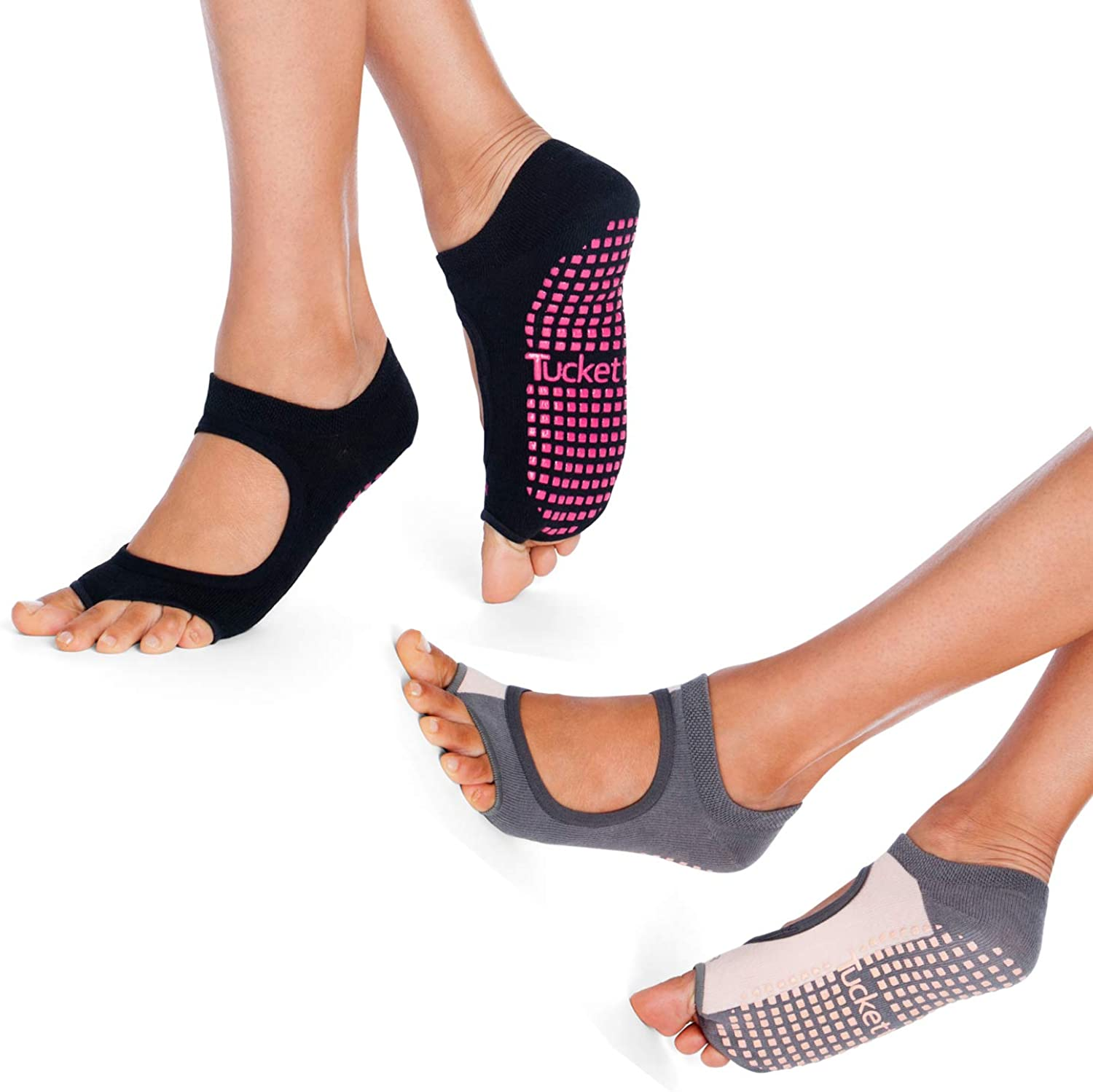 Pilates Toeless Non Skid Sticky Grip Sock 2 Pack Yoga Pilates Socks for Women Non Slip Barre Ballet