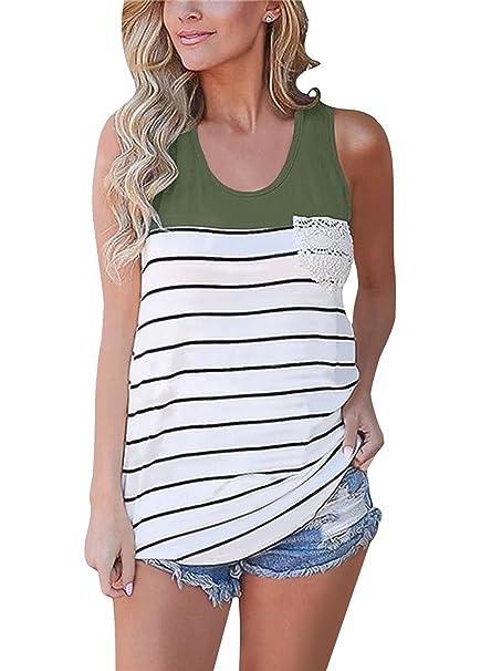 Cassiecy Camisetas para Mujer Sin Mangas Moda con Bolsillo Verano Blusa Suelta Tops Mujer Rayas Camiseta