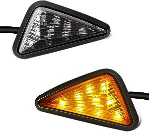 NTHREEAUTO Flush Mount Smoked LED Turn Signal Light, 12V Motorcycle Amber Indicators Compatible with Honda CBR, Yamaha YZF, Kawasaki, Suzuki GSXR