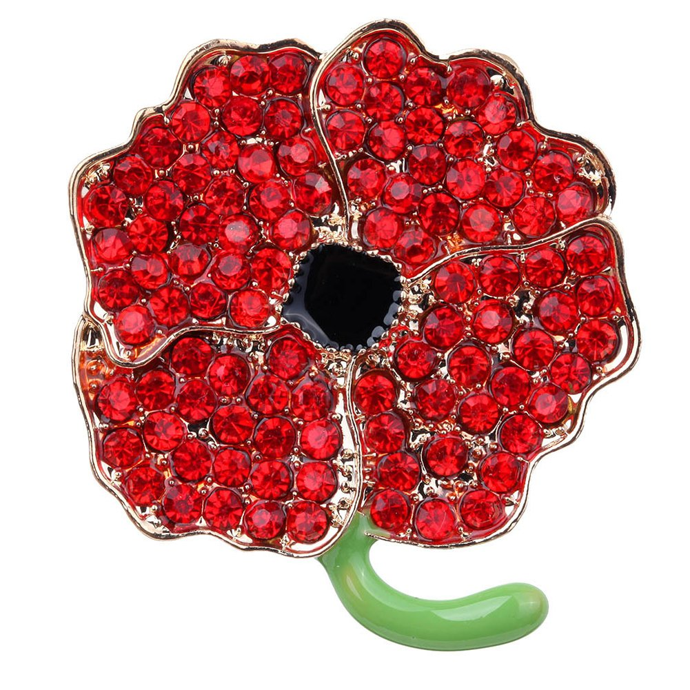 Remembrance Day Gifts Red Enamel Flowers Crystal Poppy Brooches Pins for Hero Women Love Dream LD-BC-01-0001