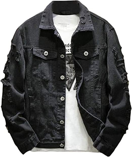 Mens Embroidery Ripped Distressed Pockets Fall Washed Denim Jacket Jean Coat