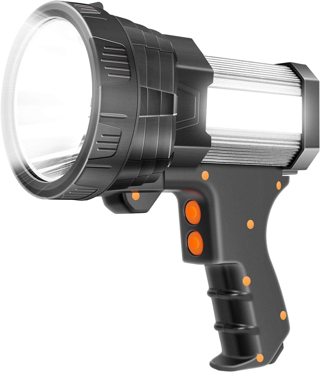 Super Bright Spotlight 6000 Lumen LED Flashlight Handheld Rechargeable Spot light 9600mAh Long Lasting Large Torchlight Searchlight and Floodlight Fishing Hiking Camping Flashlight USB Output