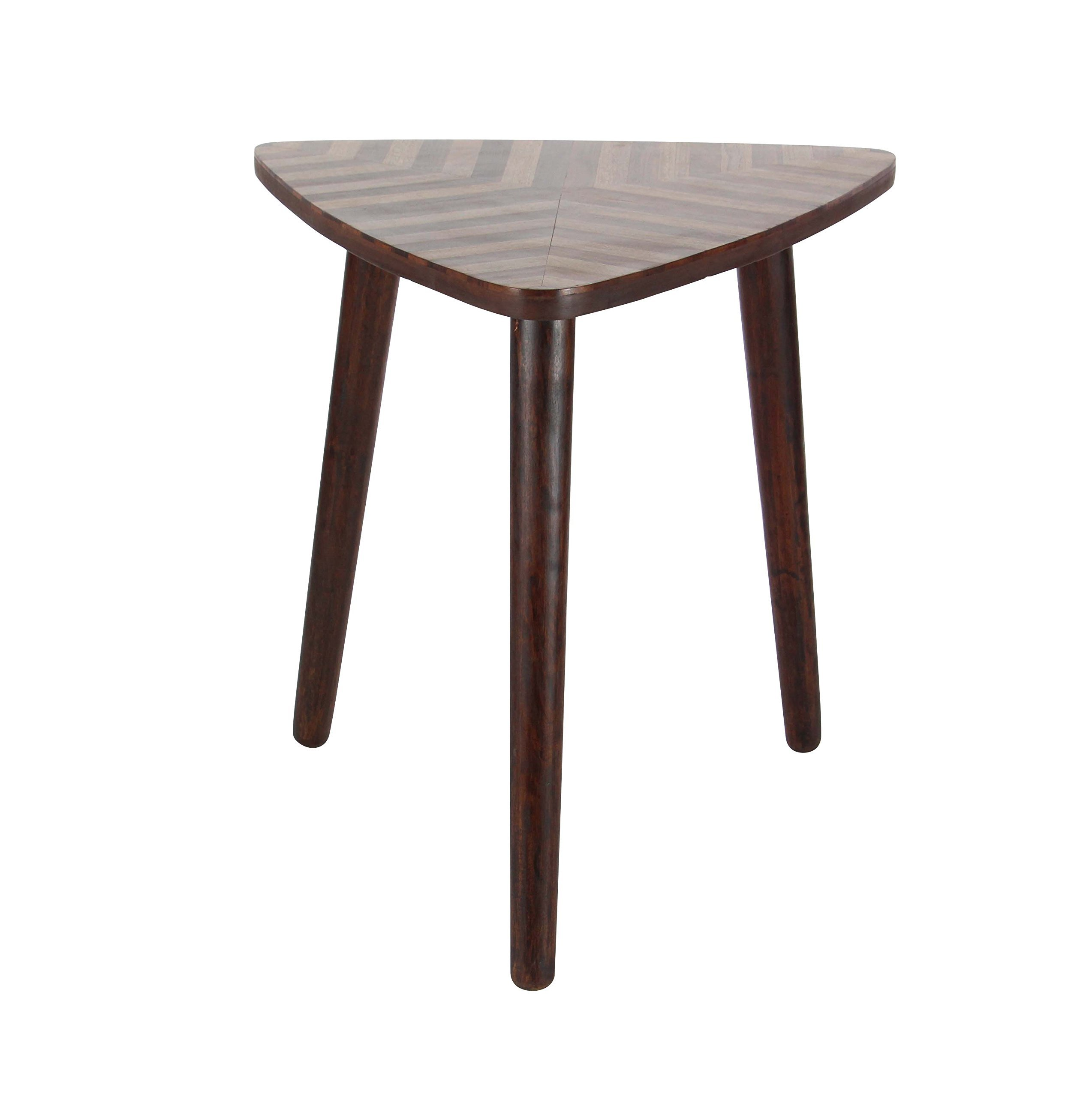 Deco 79 66183 Wooden Triangular Chevron Accent Table, Darkbrown