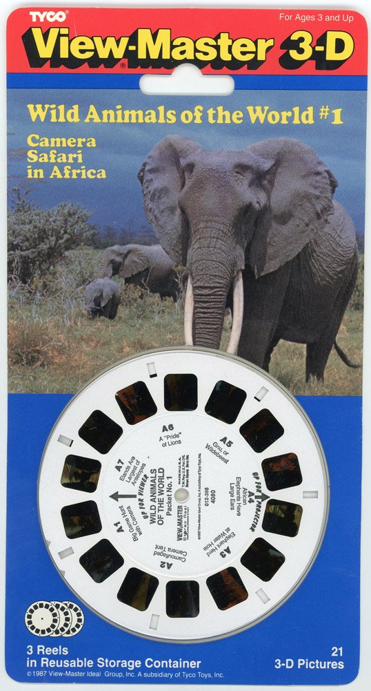 Classic View Master - Wild Animals of the World #1 - 3 Reel Set for Classic ViewFinder Viewer by View Master (Image #1)