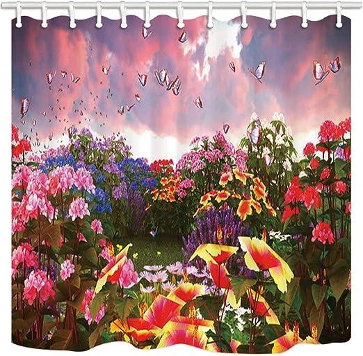 vrupi Cortina de regadera de jardín con diseño de Flores y Mariposas, Resistente al Moho, Tela de poliéster, Impermeable, con Ganchos, 180 x 180 cm: Amazon.es: Hogar