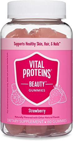 Vital Proteins Beauty Gummies, 2500mcg Biotin, Vitamin A, Zinc Supplement, Helps Supporth Healthy Hair, Skin, and Nails, 60 ct, 30-Day Supply, Strawberry Flavor