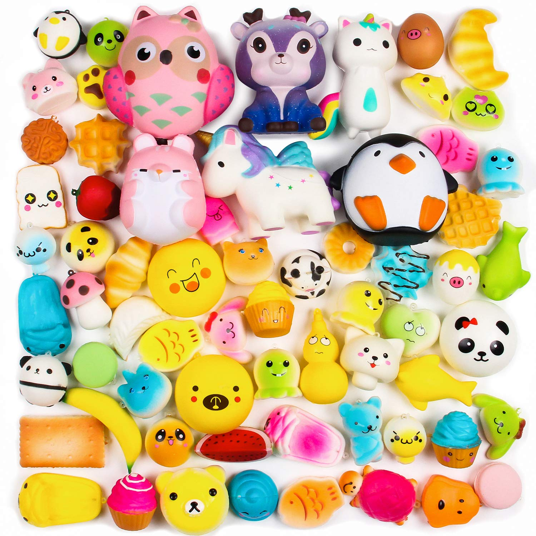 BeYumi Random 16 PCS Toys(Including 15 PCS Mini + 1 PC Big ),Kawaii Soft Cream Scented Slow Rising Food and Animals for Children Toy