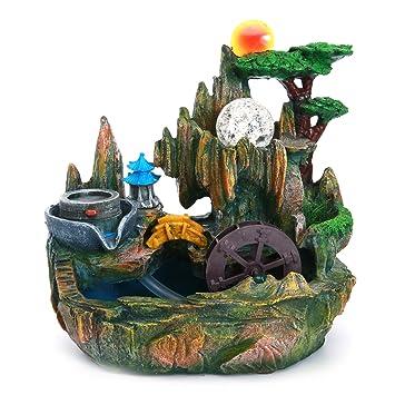 Jeteven Feng Shui Bonsai Luftbefeuchter30x25x15 Harz Brunnen Wasser  Steingarten Bonsai Dekoration Für Reichtum Und Viel Glück