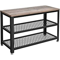 VASAGLE BRYCE Shoe Bench, 3-Tier Shoe Rack, Storage Shelves with Seat, for Entryway, Living Room, Hallway, Accent Furniture, Steel Frame, Industrial Design, Greige and Black ULBS73MB