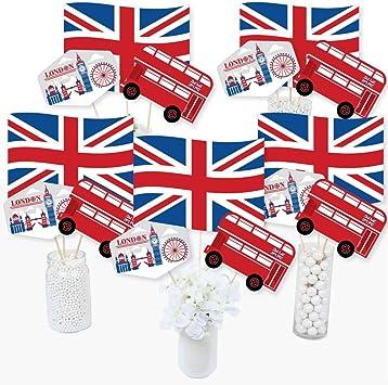 Big Dot of Happiness Cheerio, London - Juego de 15 palos de centro de mesa para fiestas del Reino Unido: Amazon.es: Juguetes y juegos
