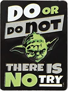 Open Road Brands Star Wars Yoda Do or Do Not There is No Try Embossed Metal Magnet - an Officially Licensed Product Great Addition to Add What You Love to Your Home/Garage Decor