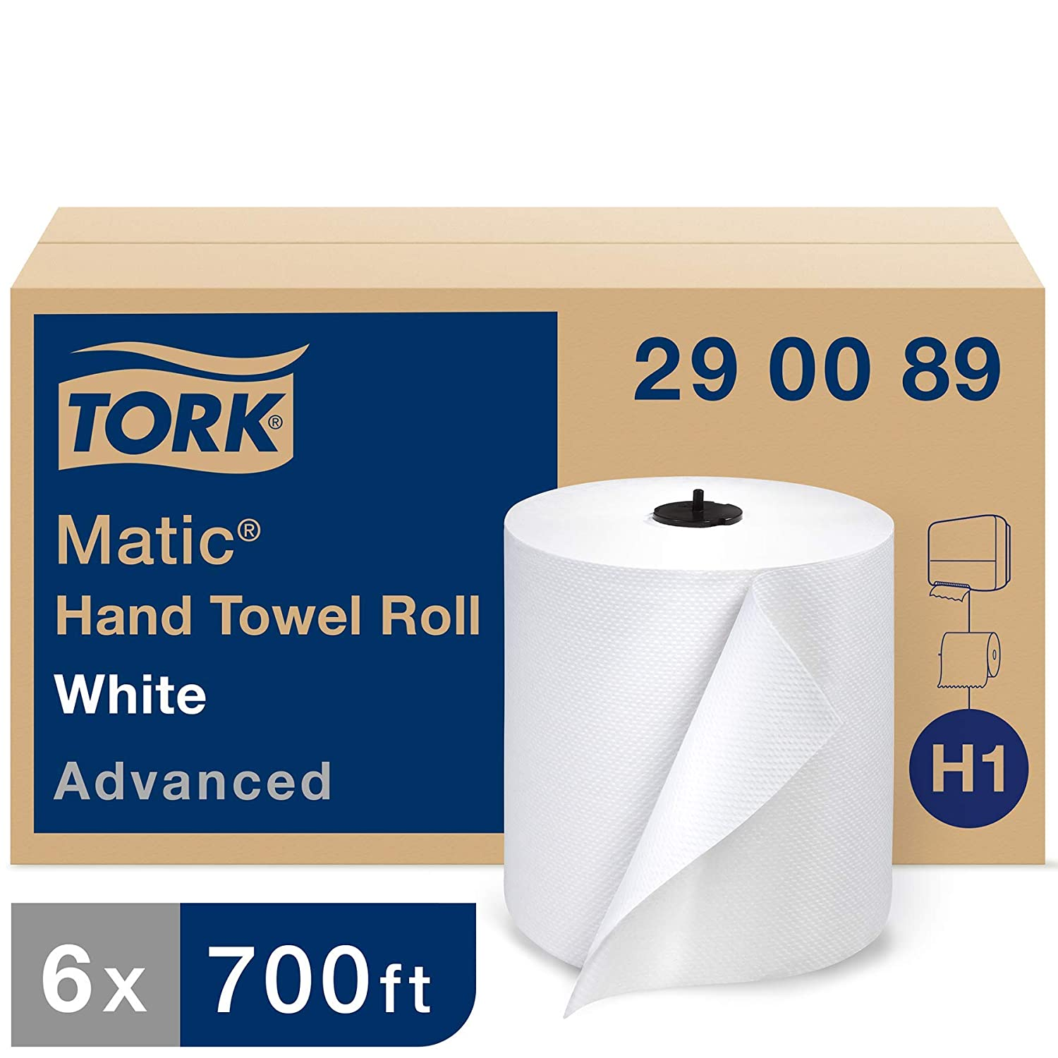 Tork Matic Advanced Paper Towel Roll H1, Paper Hand Towel 290089, 100% Recycled Fiber, High Absorbing, High Capacity 1-Ply, White - 6 Rolls x 700 ft
