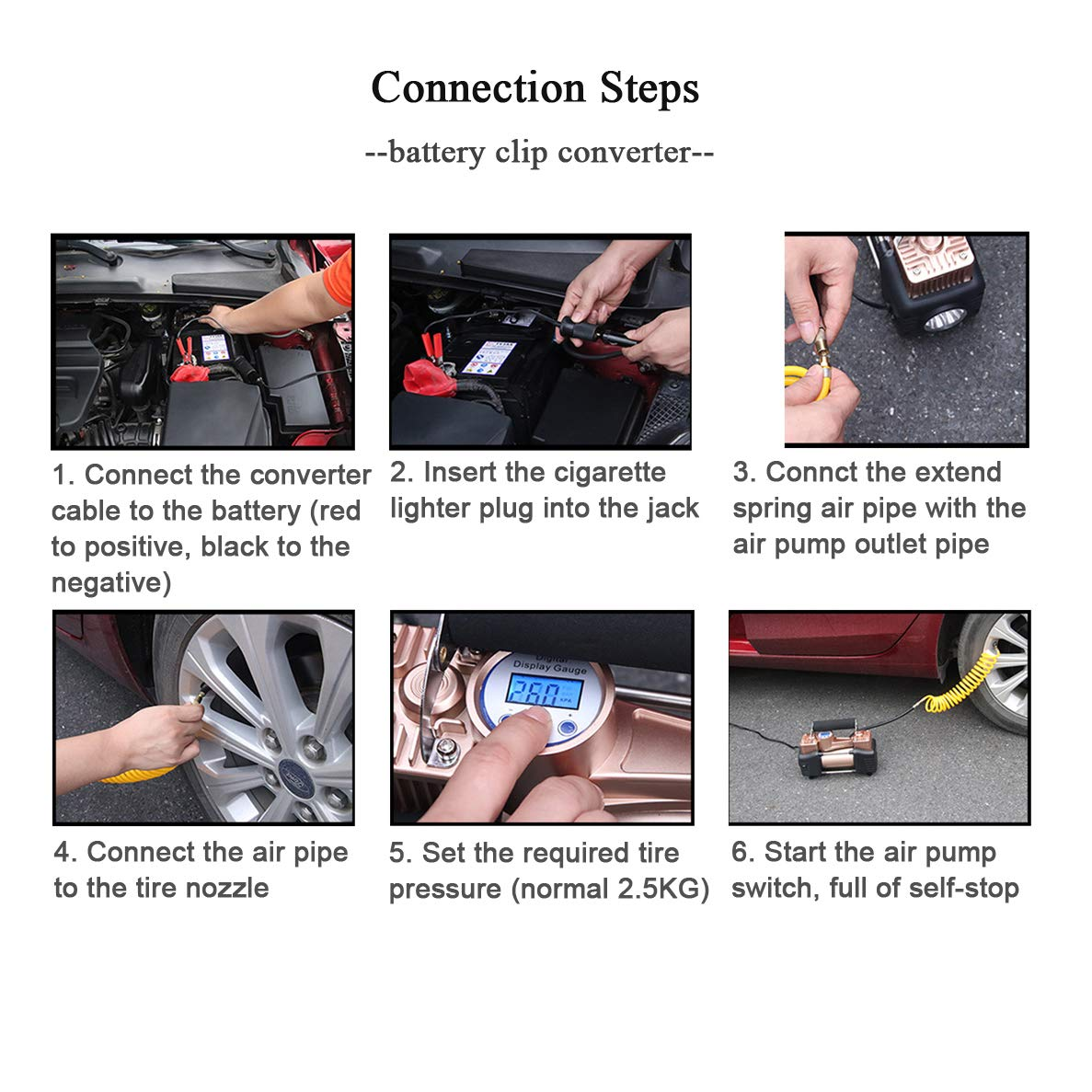 RV Air Compressor Digital Car Air Pump 12V Dual Cylinder Electric Portable Digital Tire Inflator for Car Bicycle and Other Inflatables Truck