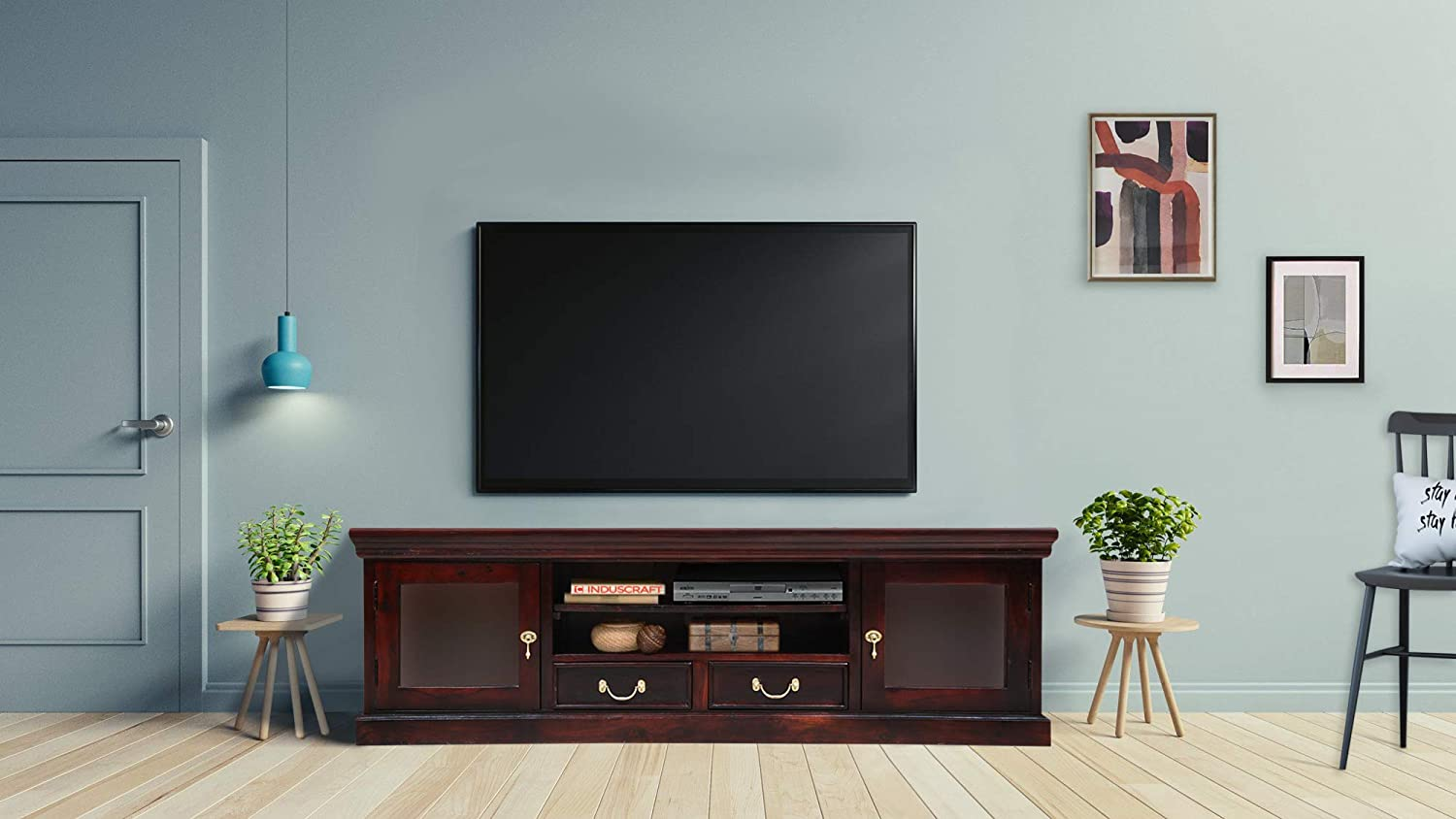 Induscraft Solid Wood Entertainment Unit Amazon In Home Kitchen