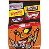 SNICKERS Original, SNICKERS Crunchy Peanut Butter, 3 MUSKETEERS, STARBURST, & SKITTLES Halloween Candy Mix, 82.05 Oz 260…