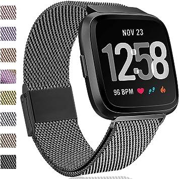 Hamily Compatible para Fitbit Versa Correa/Fitbit Versa Lite Edition, Metal Repuesto Correa con Fuerte Magnético Cierre para Fitbit Versa Smartwatch, Pequeño Negro: Amazon.es: Deportes y aire libre