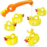Kidzlane Bath Toys Fishing Game - 1 Toy Fishing Pole and 6 Rubber Duckies - Teaches Numbers & Shapes - Mold-Proof Design…