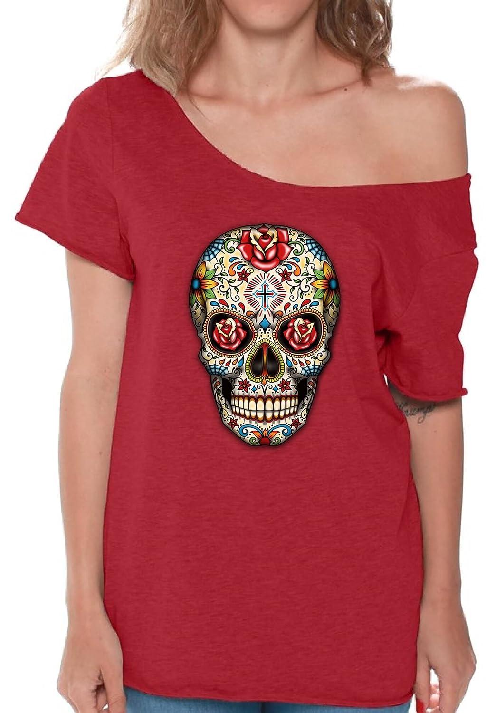 bf5af64a Amazon.com: Pekatees Sugar Skull Roses Off Shoulder Shirt Red Roses Sugar  Skull Shirts For Women Dia de Los Muertos Tshirt For Women: Clothing