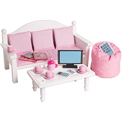18 Inch Doll Furniture Sofa & Coffee Table Set w/ Accessories - Playtime by Eimmie Collection