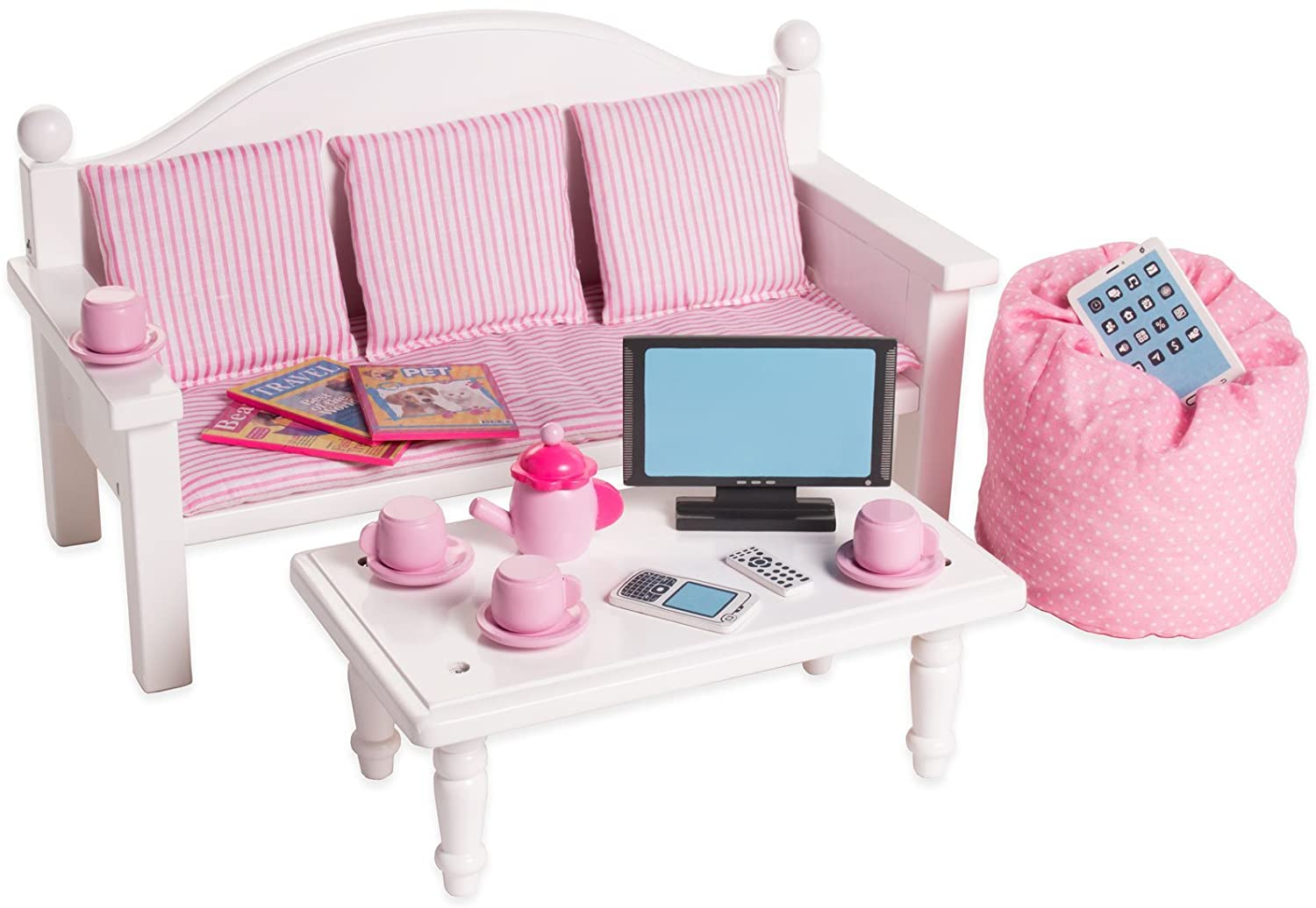 Playtime By Eimmie 18 Inch Doll Furniture Sofa Coffee Table W Doll Accessories