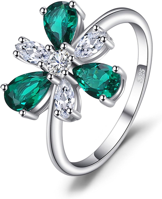 JewelryPalace Anillo Lujo Declaración 4ct Nano Rusa Imitado Esmeralda Flor en Forma de Pera Plata de ley 925