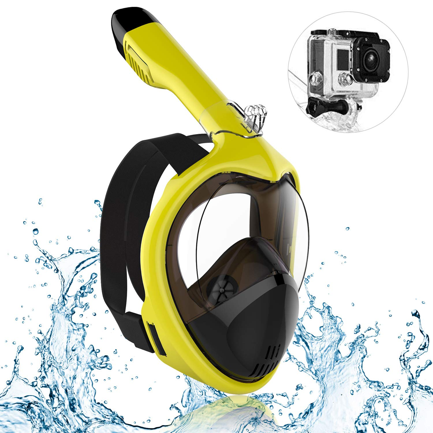 IOO Snorkel Mask Full Face for Adult Youth and Kids 180 Degree Panoramic View Anti-Fog & Anti-Leak GoPro Compatible Snorkeling Set Yellow L/XL by IOO