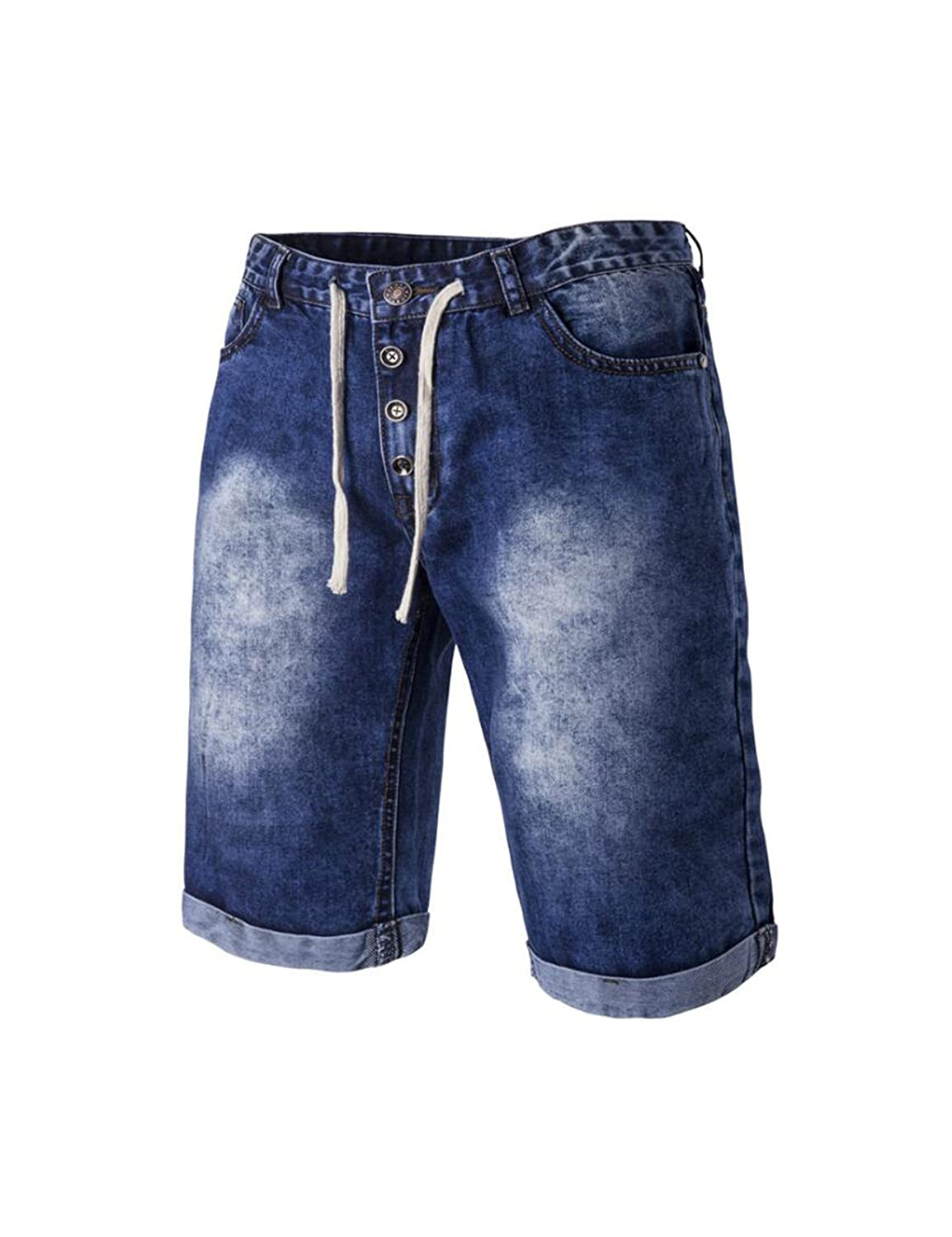 Jueshanzj Mens Jeans Short Slim Denim Straight Stretch Bermuda