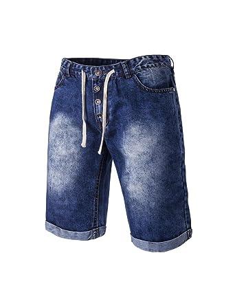 716b7b5d1e2a2 Jueshanzj Homme Jeans Short Vintage Slim Denim Pantacourt Straight Stretch  Bermuda Bleu foncé X-Large: Amazon.fr: Vêtements et accessoires