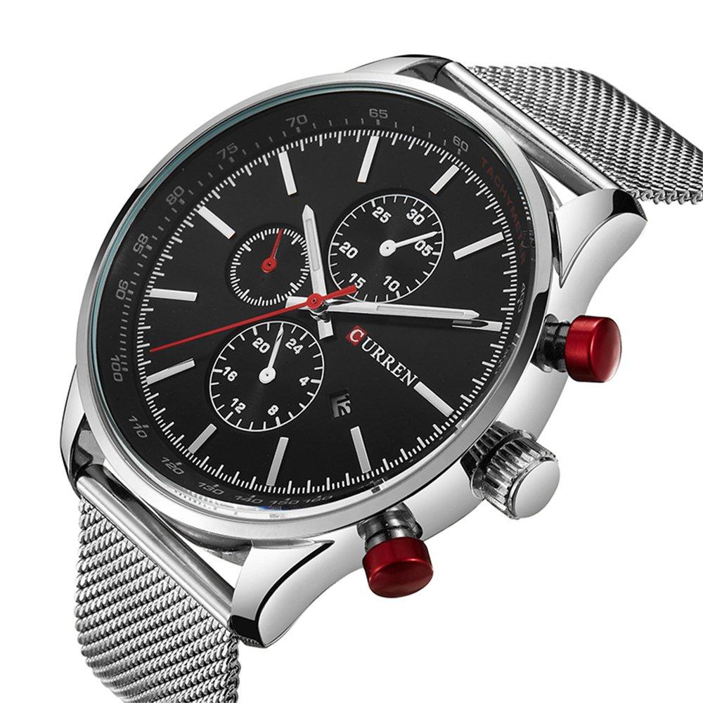 Amazon.com: Mens Watches,CURREN Quartz Analog Calendar,Wrist Watch for Men, Fashion Waterproof Stainless Steel Band-Black: Watches