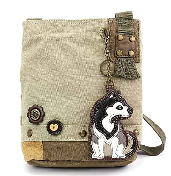 7b163ee8d Chala Purse Handbag Sand Canvas Crossbody & Key Chain Tote Bag Husky Puppy  Dog