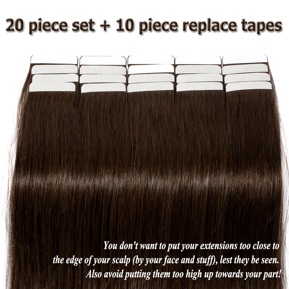 Amazon Dark Brown Tape In Human Hair Extension 20 Inch Bonding