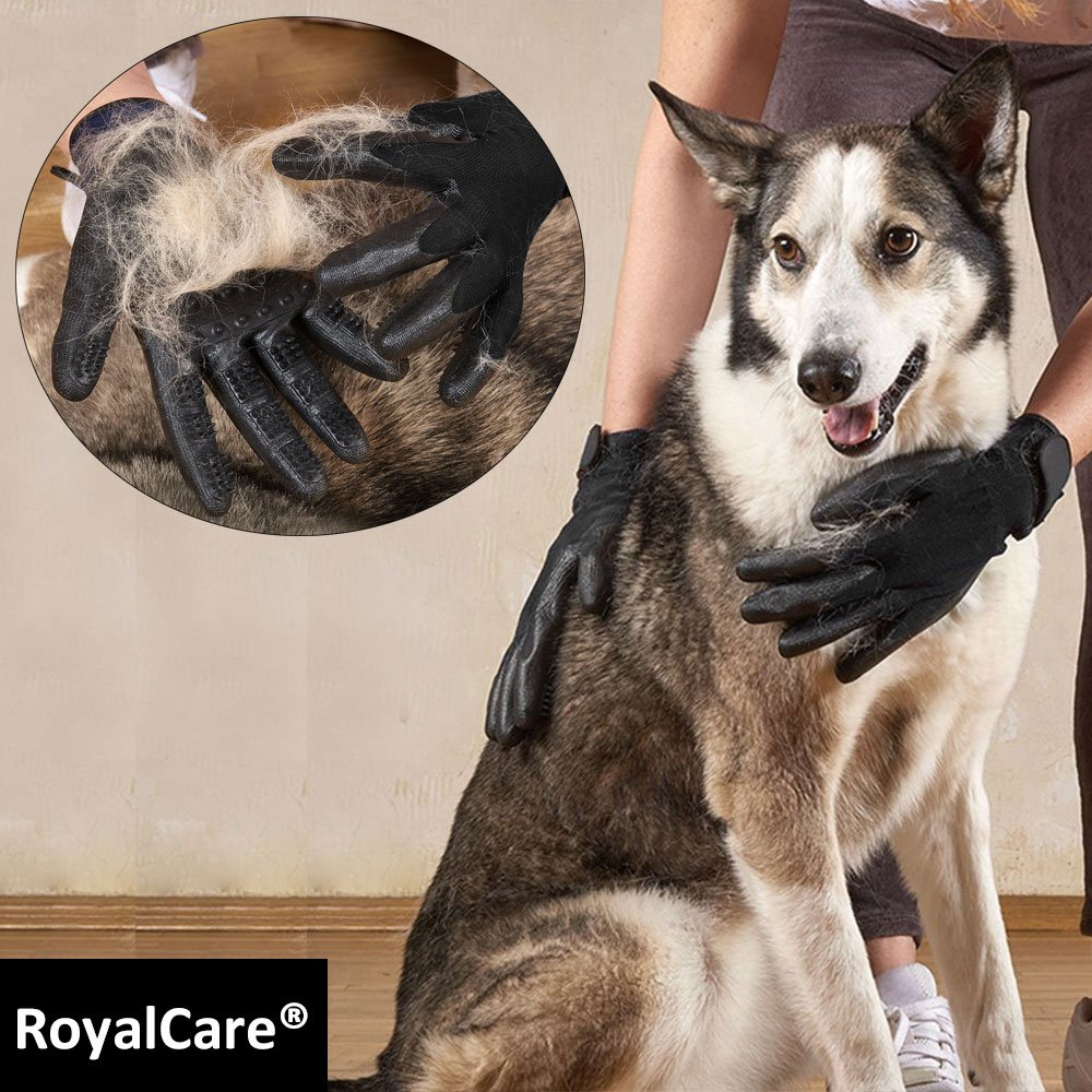 RoyalCare Pet Grooming Glove Gentle Deshedding Pet Brush Glove - Pet Hair Removal Mitt with Enhanced Five Finger Design for Long & Short Fur Dogs Cats Horses Rabbits - 1 Pair (Black) by RoyalCare (Image #6)