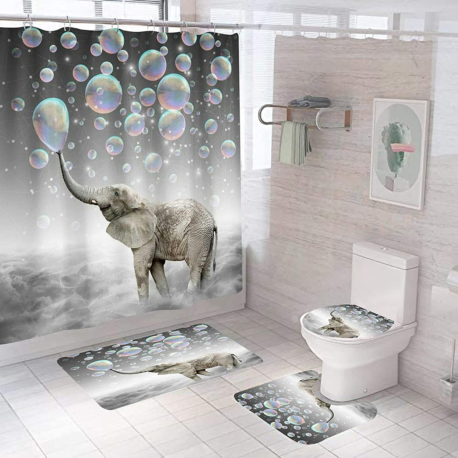 4 Pcs Cute Elephant Blowing Bubbles Shower Curtain Sets with Bathroom Rugs Set,Include Non-Slip Rug,Toilet Lid Cover,Bath Mat,12 Hooks,Waterproof Shower Curtains for Bathroom Accessory Home Decor