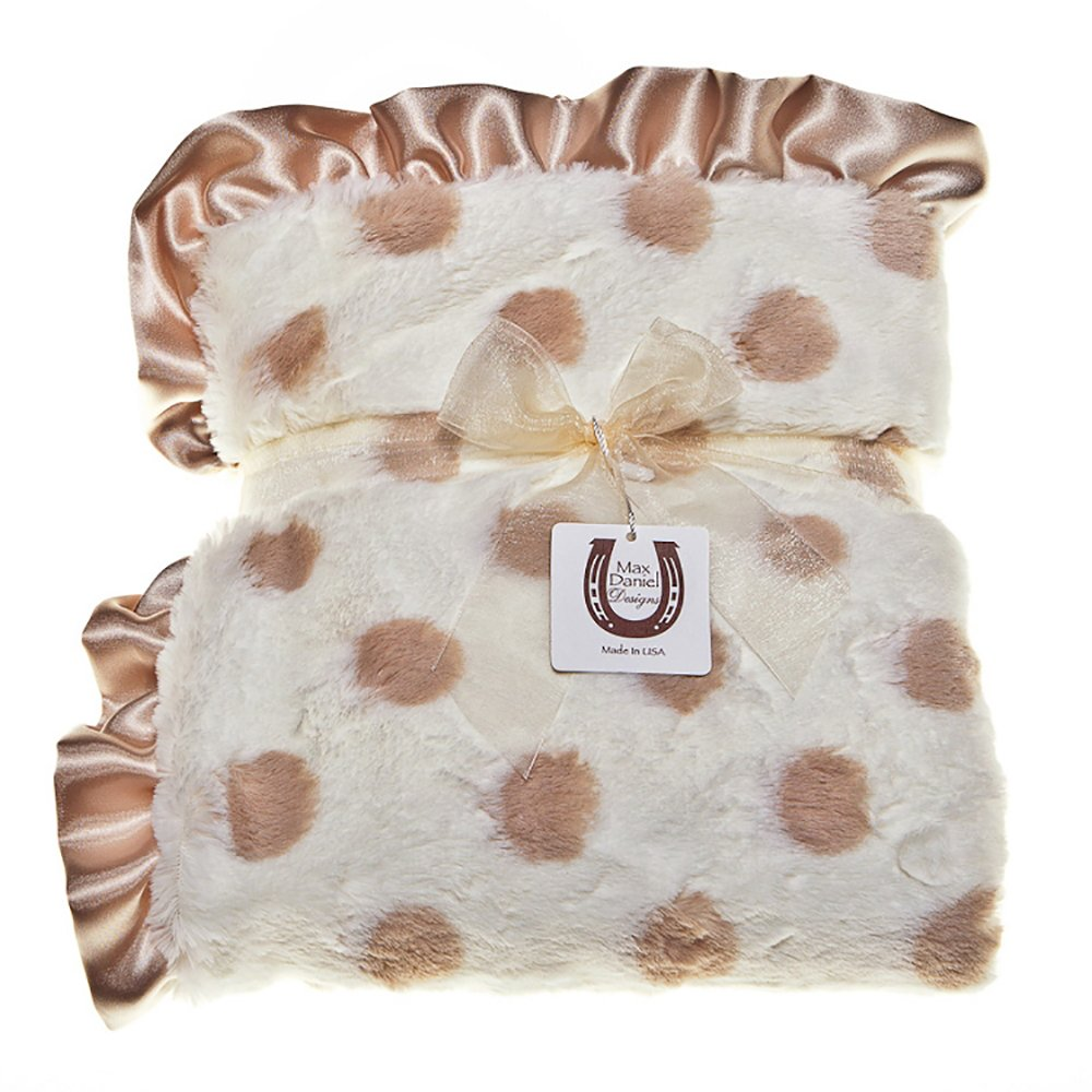 Max Daniel Child Champagne Dot Blanket - Double Sided - Satin Ruffle 1172
