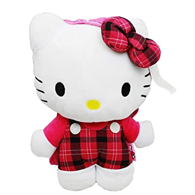 Hello Kitty Plush Backpack- Plaid 14"