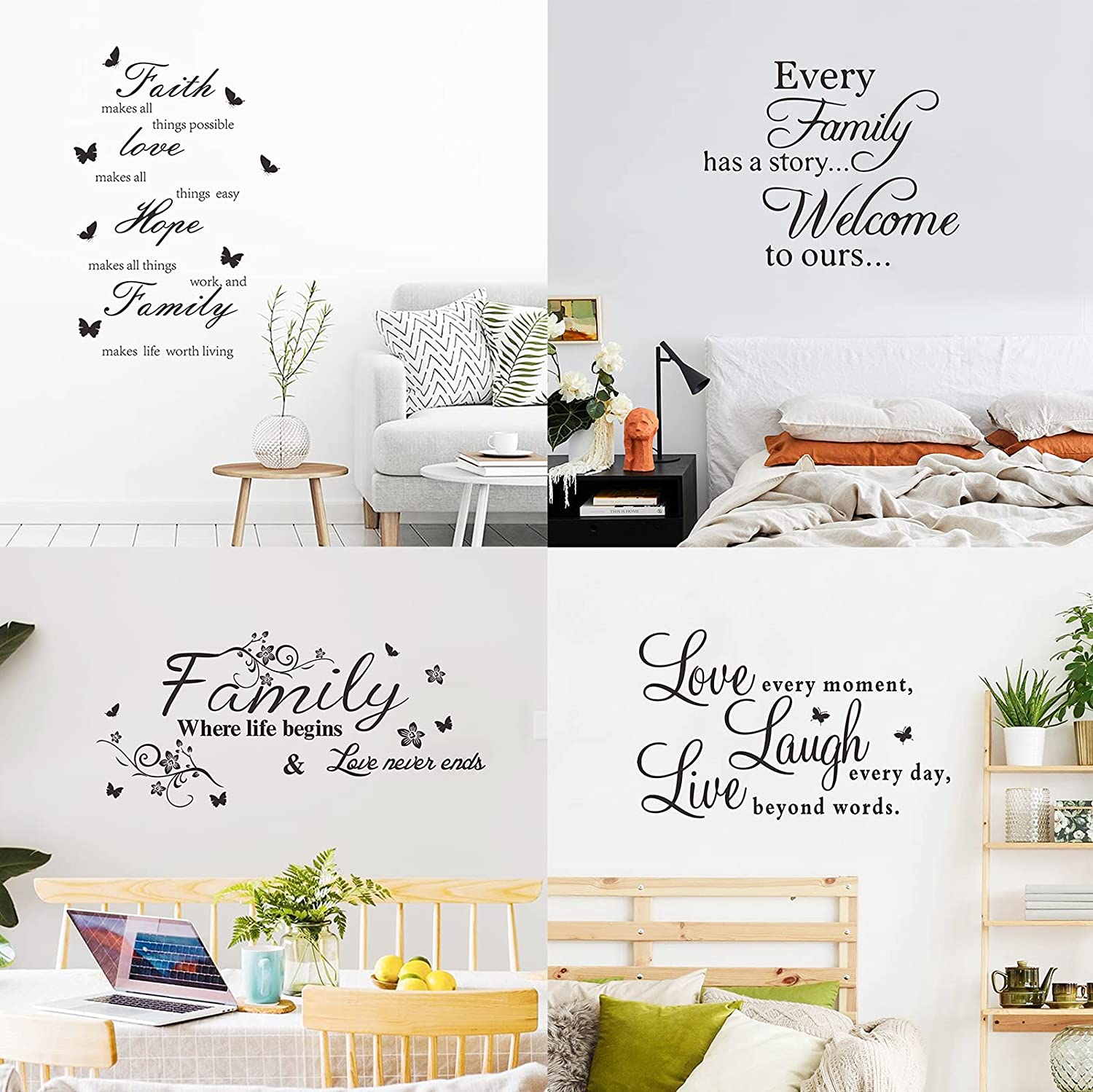 Family Wall Decals Inspirational Wall Art Stickers Live Love Laugh Wall Decor Words Wall Decorations for Living Room Bedroom and Hallway (4 Sheets)