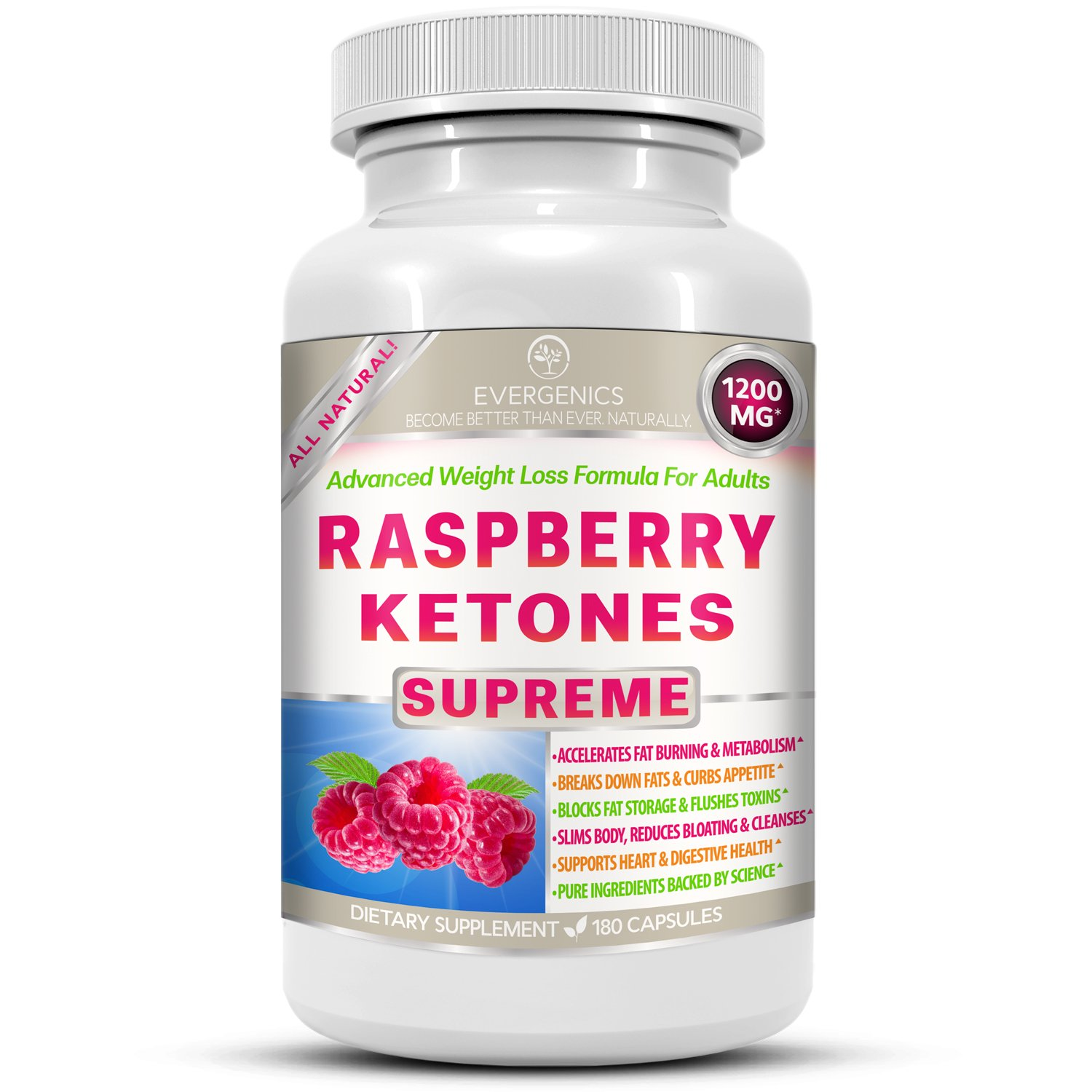 Raspberry Ketones Supreme Weight Loss & Slimming Formula for Adults. 1200mg Per Day. 180 All-Natural Capsules with Premium, Pure & Organic Ingredients. by Evergenics Health and Personal Care (Image #1)