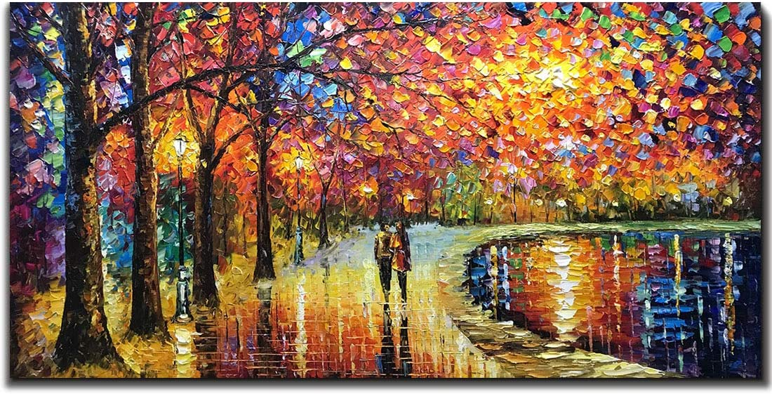 V-inspire Art, 24X48 Inch Wall Art Modern Abstract Mural Romantic Night Hand-Painted Oil Painting Canvas Art Living Room Decoration Ready to Hang