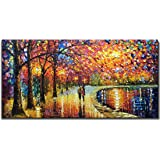 V-inspire Art, 24X48 Inch Impressionism Wall Art Modern Abstract Mural Romantic Night Hand-Painted Oil Painting Acrylic Canva