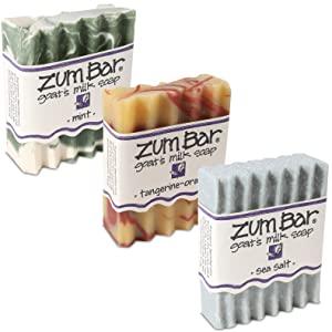 Indigo Wild Fresh Zum Bars Goat's Milk Soap 3 Pack: Sea Salt, Mint, & Tangerine-Orange