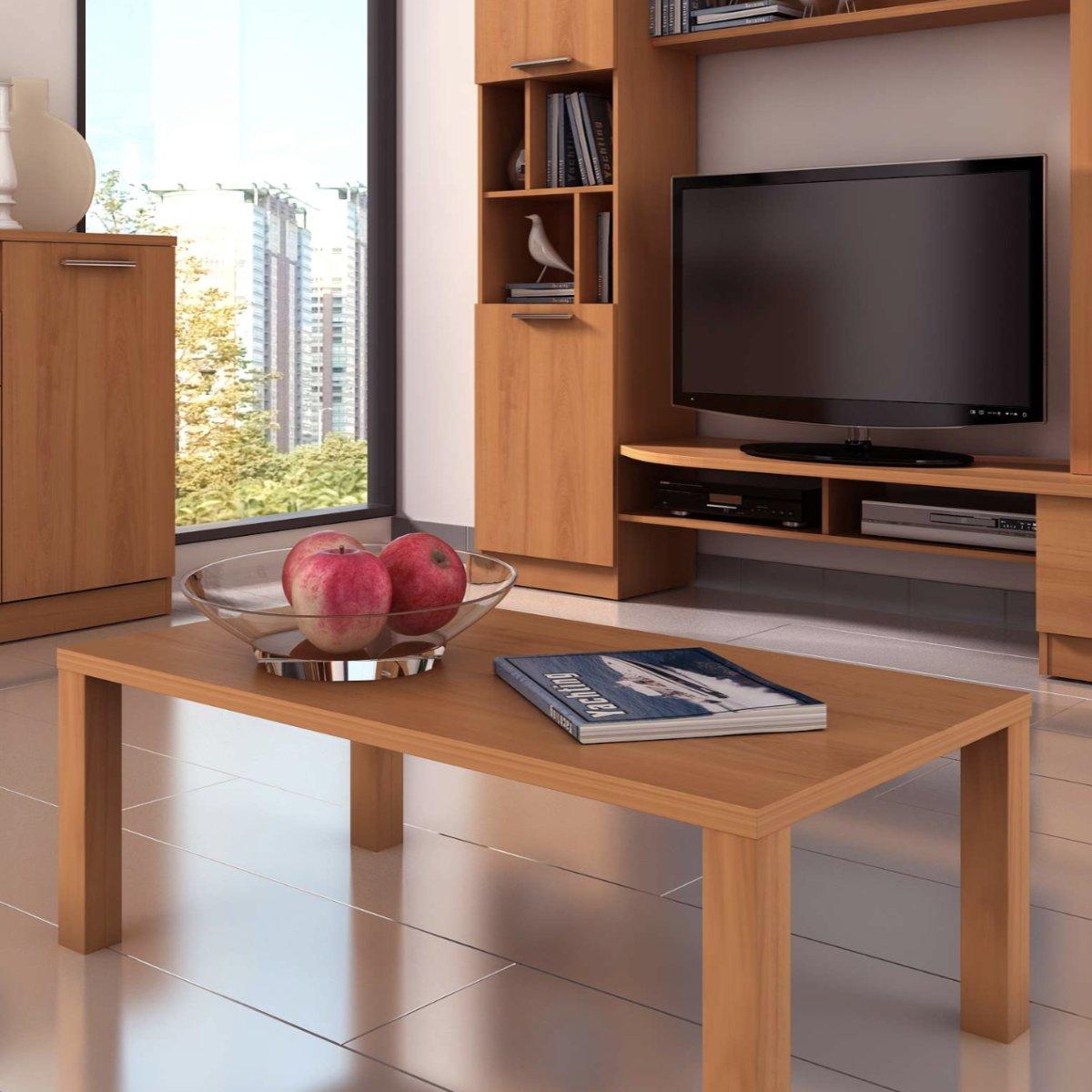 Mesa de centro de color cerezo de salón comedor. Mesita fabricada ...