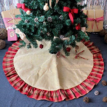 awtlife 48 burlap christmas tree skirt snowman red and green plaid christmas holiday snowflake tree skirt