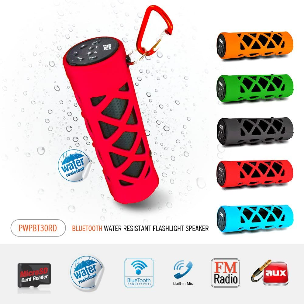 Portable Wireless Waterproof Outdoor Speaker Mp3 Android iPod iPhone Black Bluetooth Compatible Rechargeable Battery Powered Shower Pool Loud Speaker System- AUX SD USB Charger Pyle PWPBT30BK