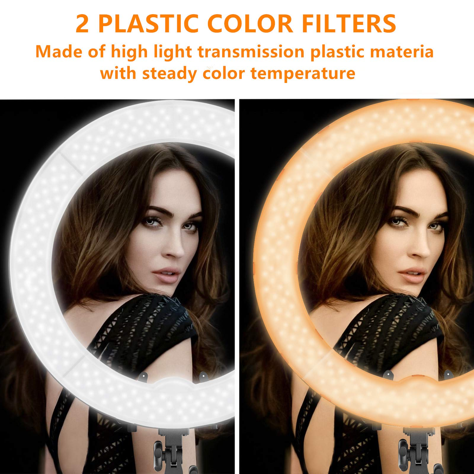 Ring Light Kit:18'' 48cm Outer 55W 5500K Dimmable LED Ring Light, Light Stand, Carrying Bag for Camera,Smartphone,YouTube,Self-Portrait Shooting by IVISII (Image #3)