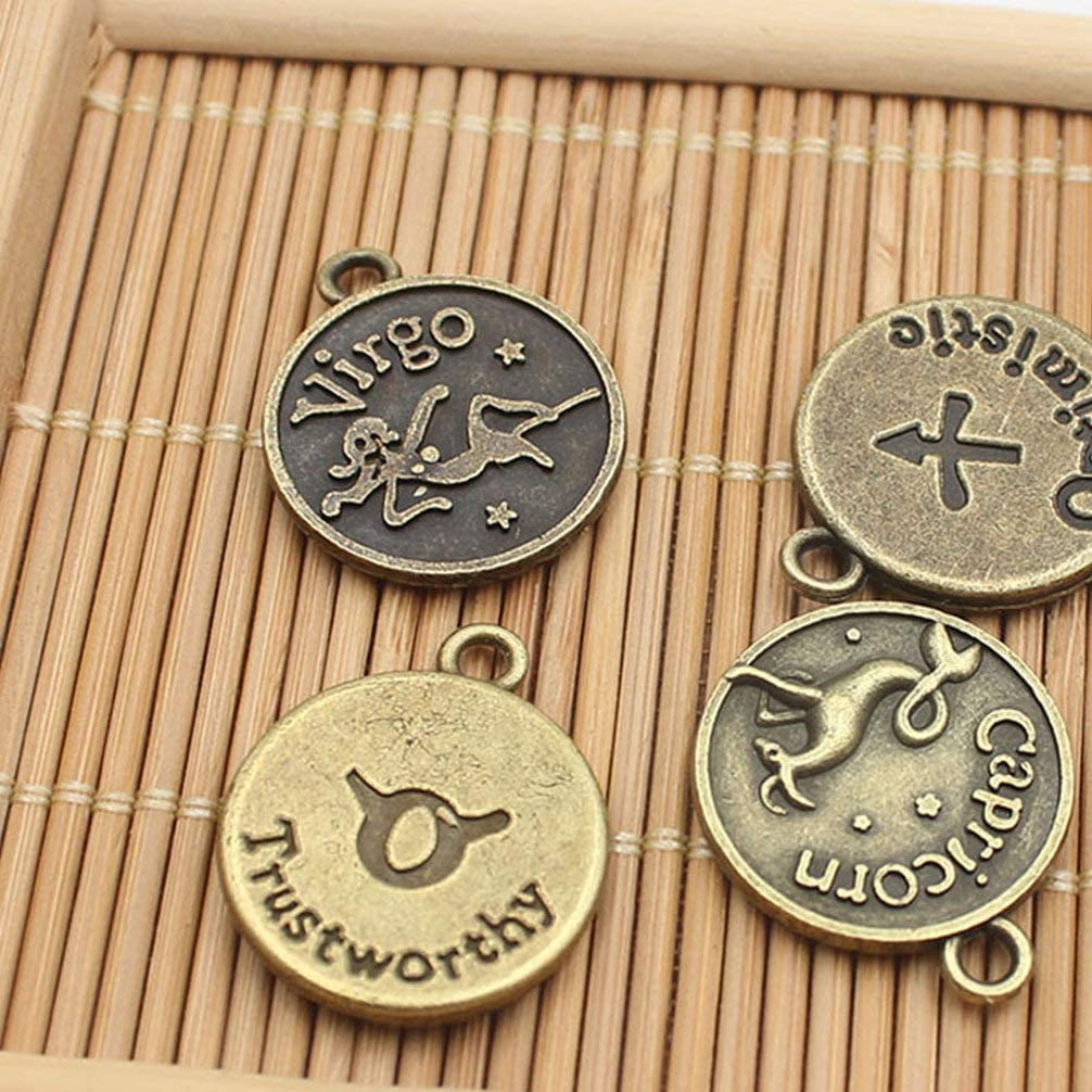 ARTIBETTER 36 Pcs Round Zodiac Sign Charms 12 Constellation Pendants Beads DIY for Necklace Bracelet Jewelry Making and Crafting