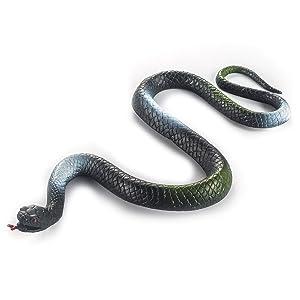 Fun Central AZ988, 12 Pcs, 22 Inches Novelty Toy Green Garden Rubber Snakes, Large Rubber Snake, Garden Snakes to Scare Birds, Water Snake Toy, Fake Rubber Snake for Prank