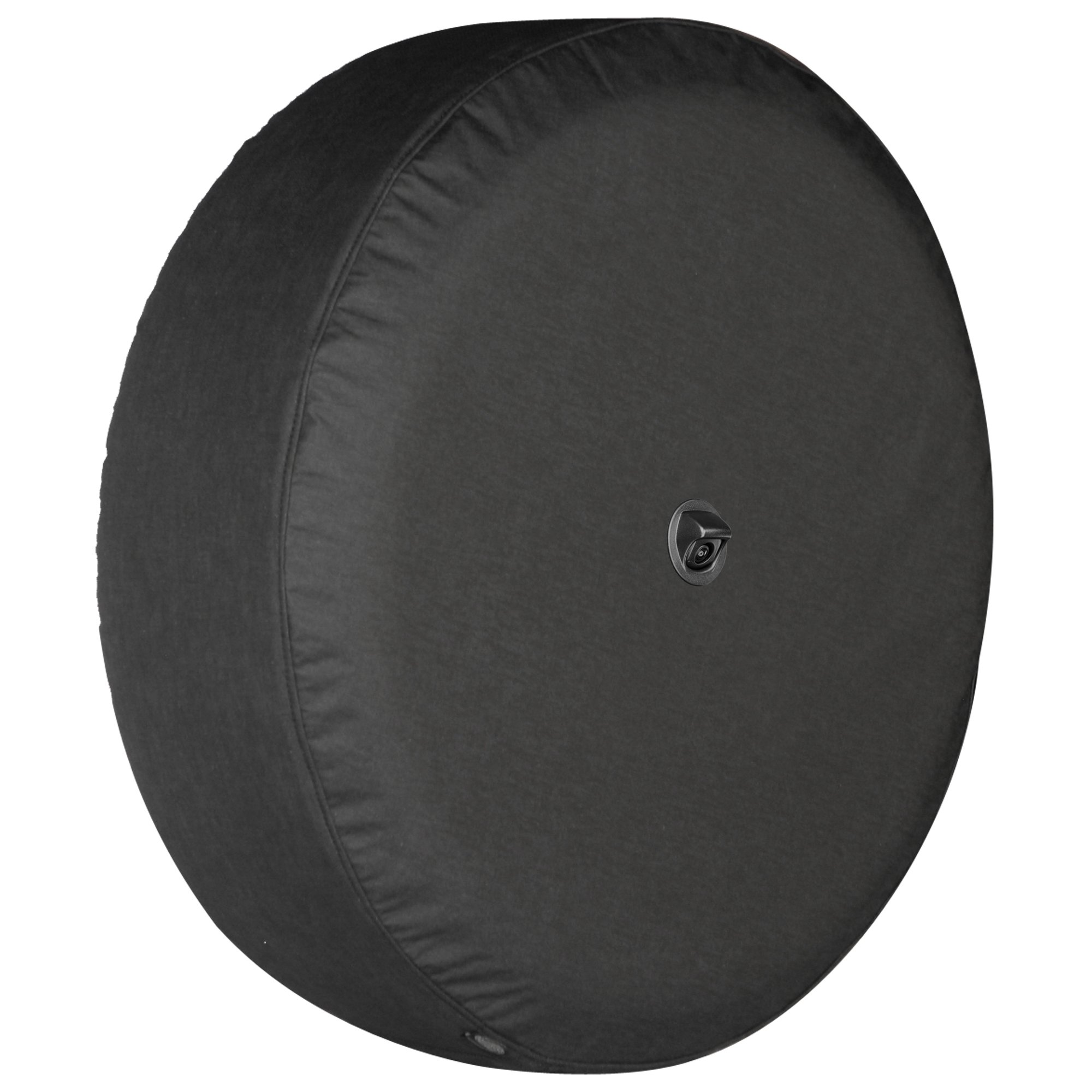 Boomerang - 33'' Soft JL Tire Cover for use with 2018-2019 Jeep Wrangler Rubicon JL (with Back-up Camera) - Black Denim Vinyl - Integrated Camera Hood