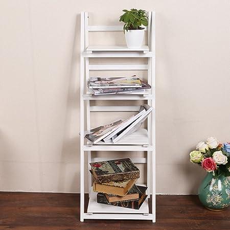 Befied Estantería para libros Librería de 3 / 4 baldas Estantería de baño Escalera Madera de Almacenamiento y Organización estantería de pared resistente (Blanco, 4 baldas (111 x 41 x 34 cm)): Amazon.es: Hogar